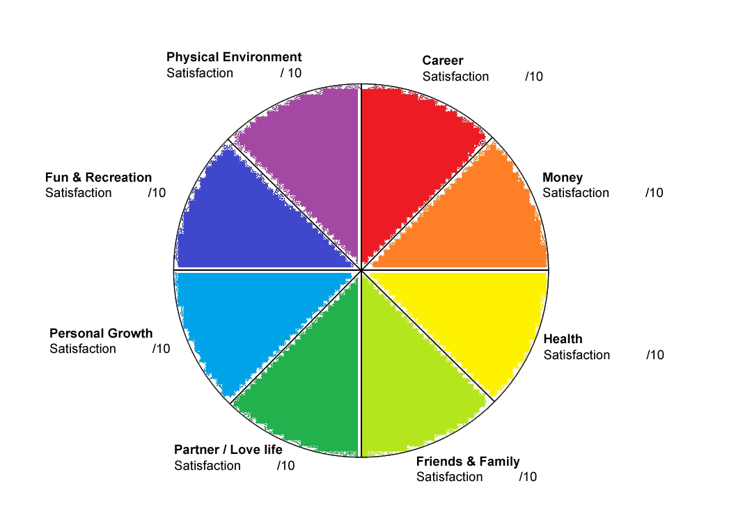 Wheel of life - 8 sections - life coaching
